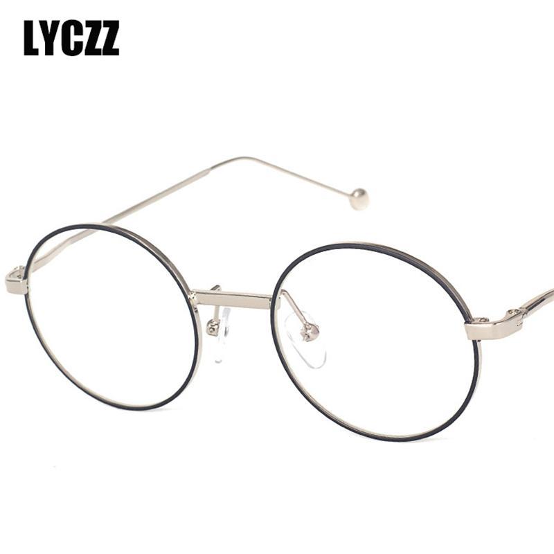 24ac5b48dfe57 Compre LYCZZ Ouro Metal Prescrição Armações De Óculos Elegante Redonda  Moldura Óptica Mulheres Homens Óculos Unissex Miopia Óculos De Armação De  ...