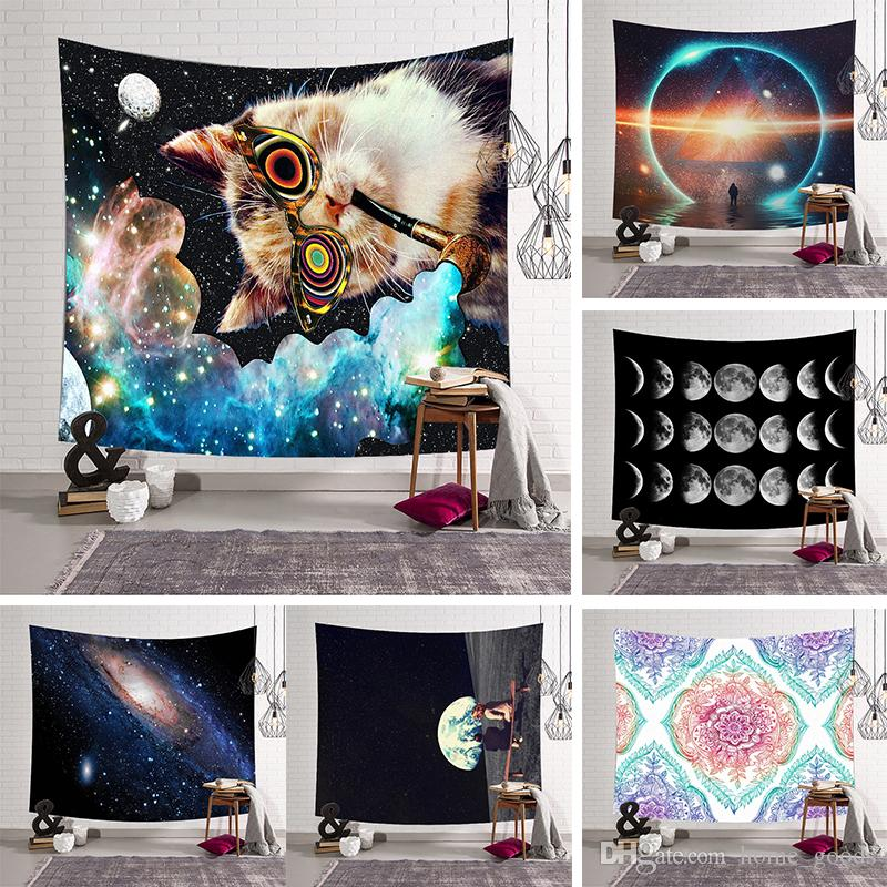 Galaxy Digital printing Tapestry Cartoon Cat Hippie Wall Hanging Tapestries Home Decor Beach Towel Wall Carpet Curtain Home Decor