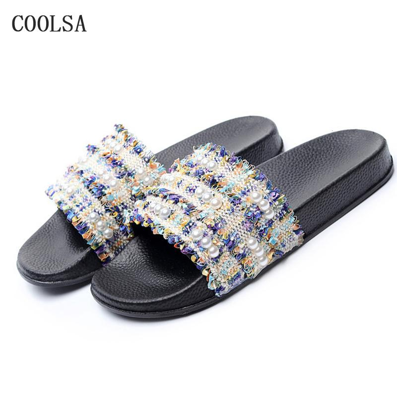 70393a2ffd8a5 Summer Women Pearl Slippers Lace Flip Flops Bead Sexy Shoe Casual Designer  Slides Soft Comfort Flat Home Slippers Beach Sandals Womens Loafers Fashion  Shoes ...