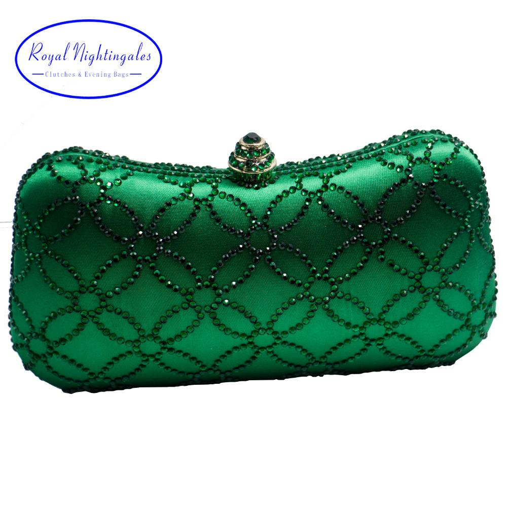 Flower Emerald Dark Green Rhinestone Crystal Clutch Evening Bags For Womens Party Wedding Bridal Crystal Handbag And Box Clutch J190630