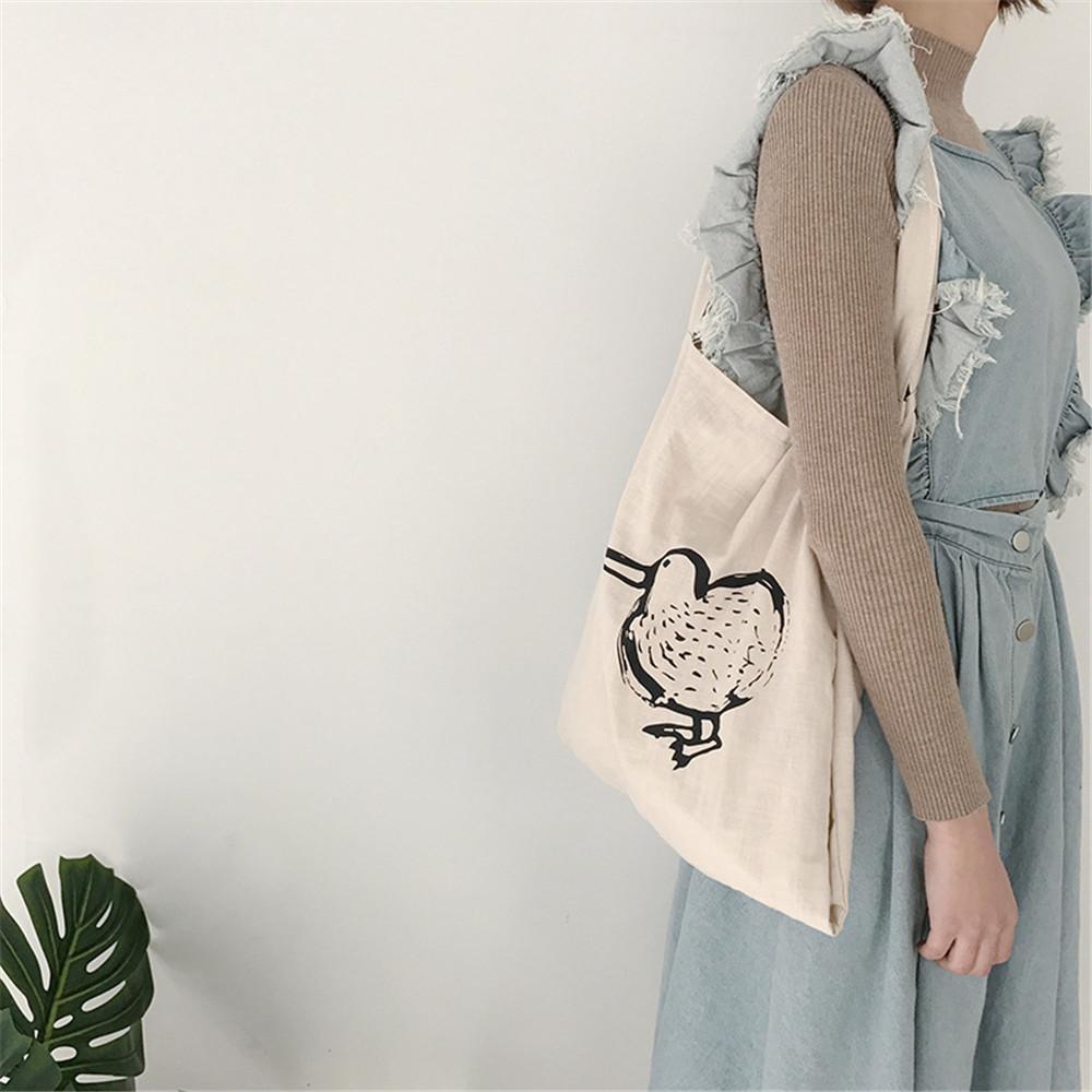 new product c2494 e1ffb Zwei seiten druck vogel buchstaben eco shopping dame umhängetasche  täglichen gebrauch faltbare handtasche große kapazität leinwand totes für  ...