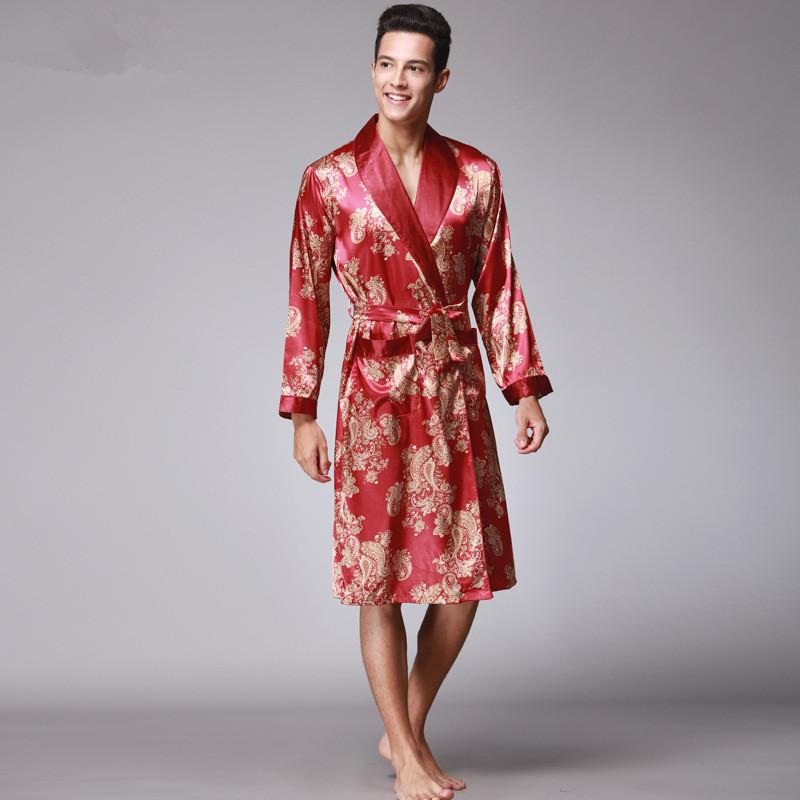 2019 Luxury Chinese King Dragon Men Robe Print Satin Silk Pajamas Kimono  Long Bathrobe For Men Plus Size 3XL Home Wear Clothing From Cutelove66 7d07163db
