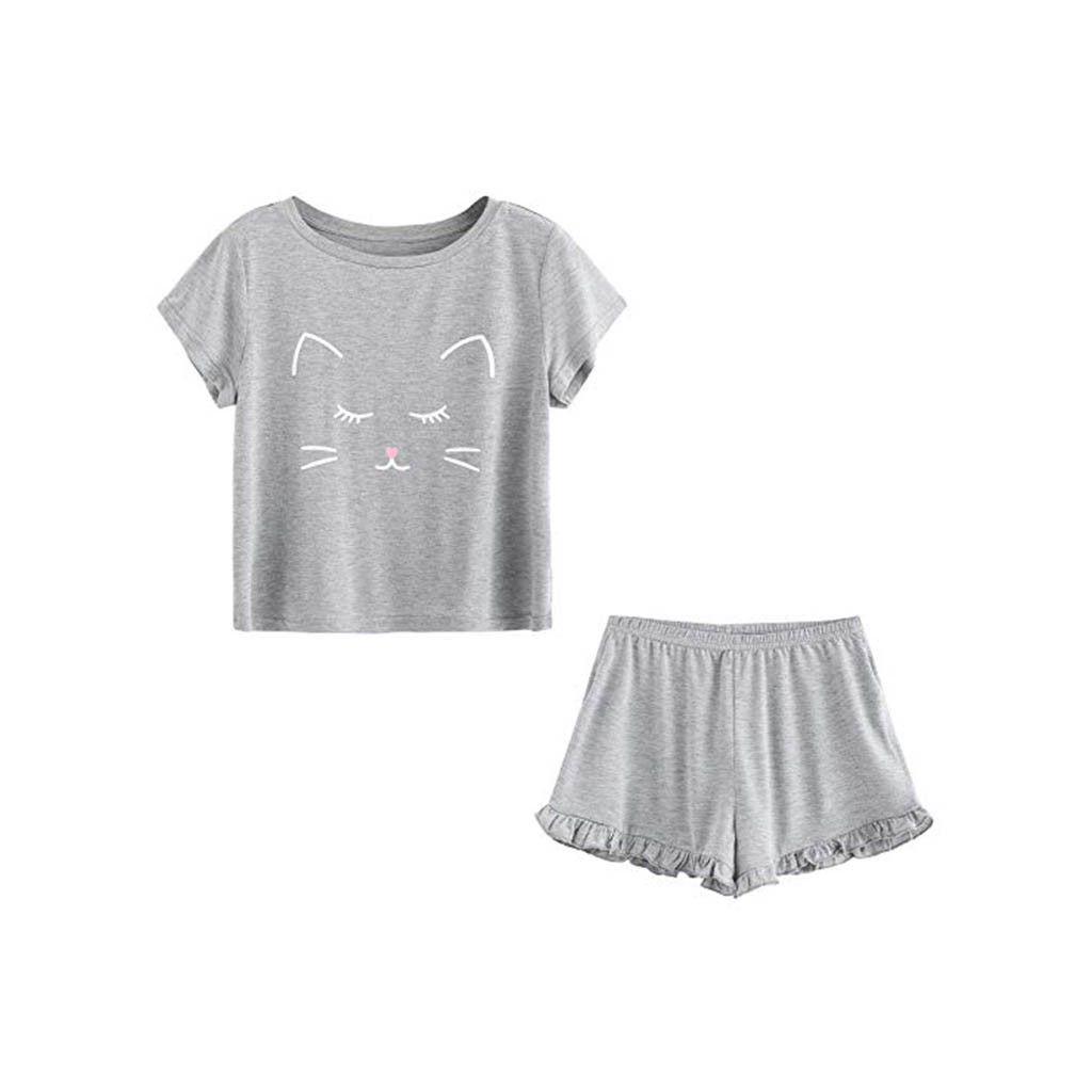 4d563a52e pajamas 2 piece Women's cute nightwear Casual Cat Shorts Short Sleeve  Ruffled T-Shirt Sleepwear Nightwear Set sexy lingerie