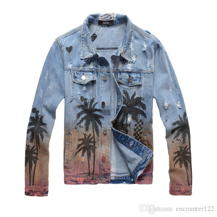 Men's Designer Jacket Denim Jacket Luxury Coco Print Spray High Street Fashion Trend Denim Tropical Style Old Washed Hole Top