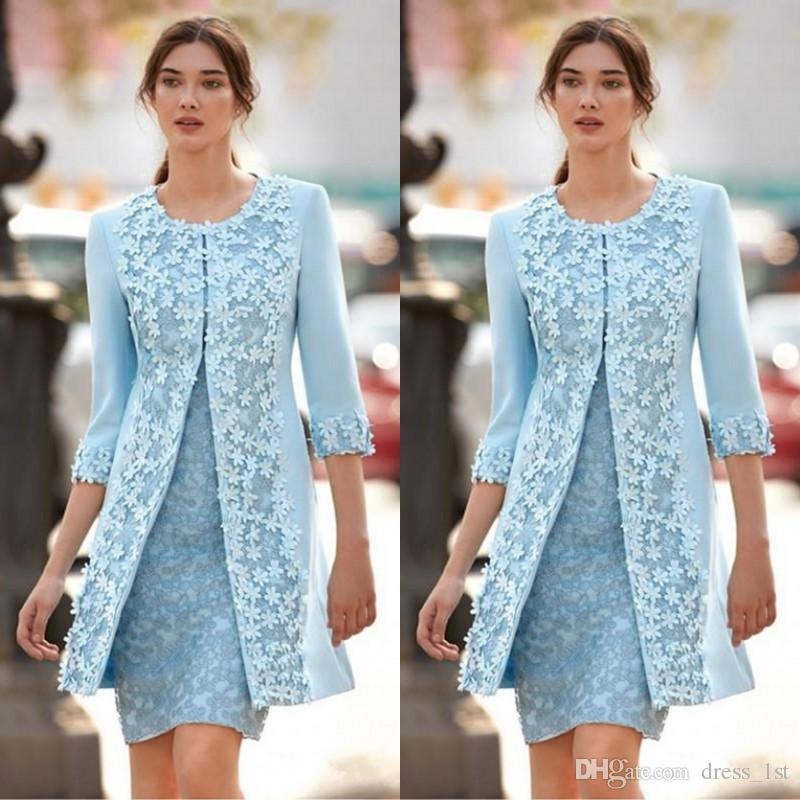 Hochzeits-partykleid Blau Satin Spitze Mit Perlen Appliques Knielangen Mantel Mutter Der Braut Kleider Mit Jacke Einfach Zu Verwenden