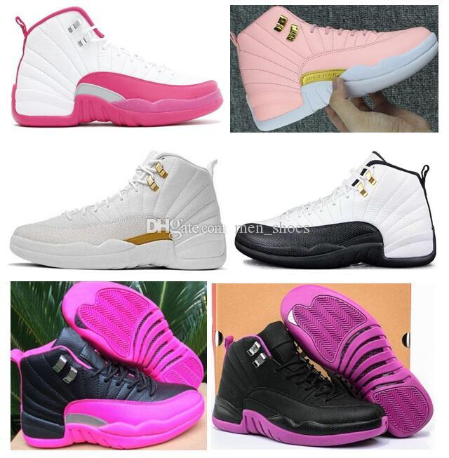 low priced a93e2 62372 High Quality Women 12 12s GS Hyper Violet Youth Pink Valentines Day  Basketball Shoes Girls The Master Taxi Rush Pink Sneakers With Box  Basketball Shoe Men ...