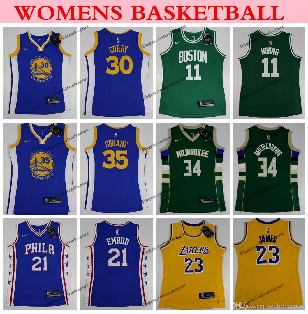 huge selection of 1aa2a 70f6a Womens Warriors Stephen Curry Kevin Durant Celtic Kyrie Irving Laker LeBron  James 76ers Joel Embiid Bucks Antetokounmpo Basketball Jersey