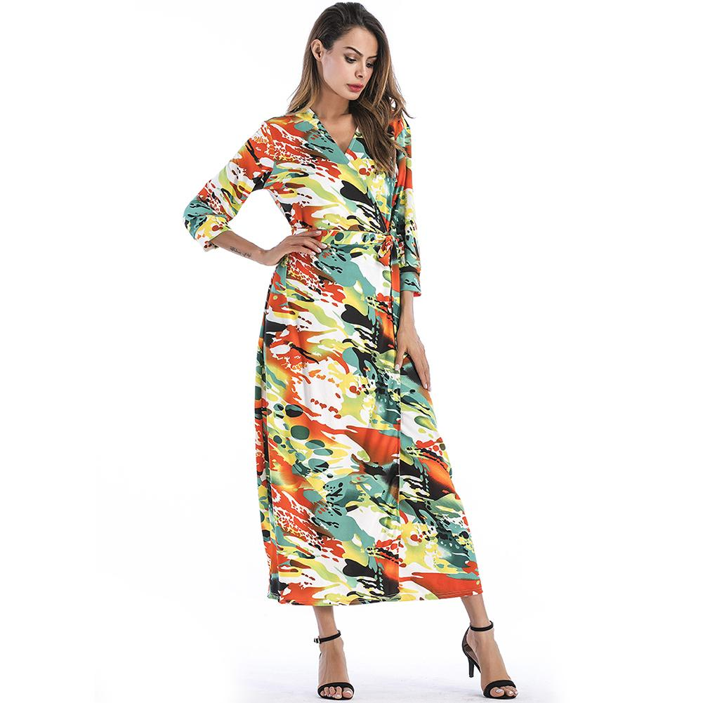 70d3818878 Acheter 2019 Nouvelle Mode Femmes Floral Print Maxi Dress V Cou Demi  Manches Robe Camo Bohemian Beach Robe Longue Vert Robes De Festa De $35.22  Du ...
