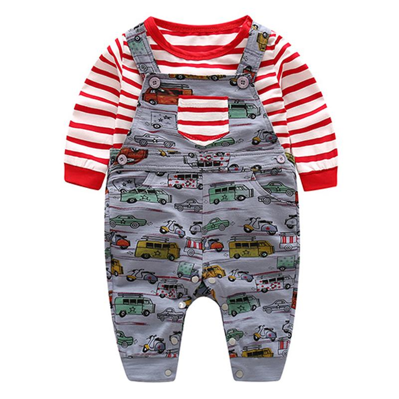 a51656b72 2019 Baby Clothing Set Red And White Striped Cotton T Shirt + Cars ...