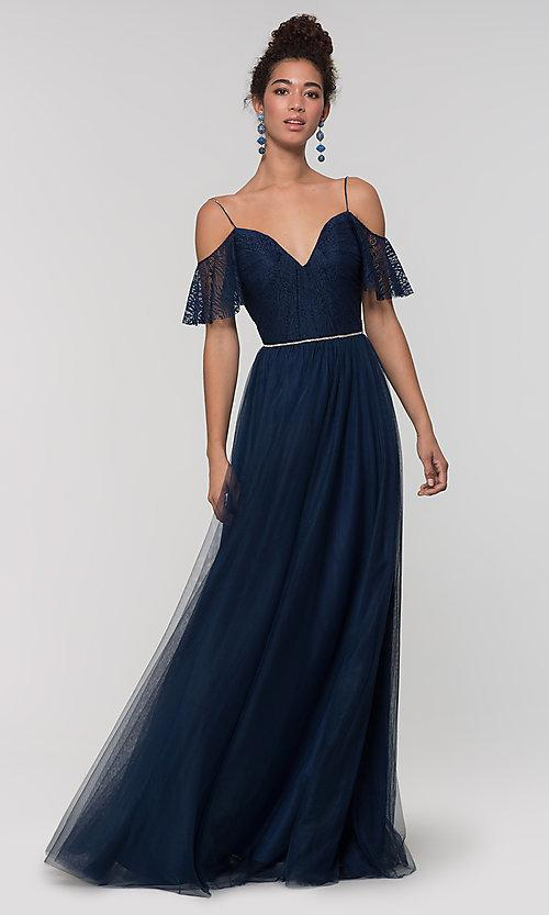 Fantastic A-Line Navy Blue Lace Bridesmaid Dresses 2019 Spaghetti Straps Maid Of Honor Dress Cheap Plus Size Bridesmaids Gowns