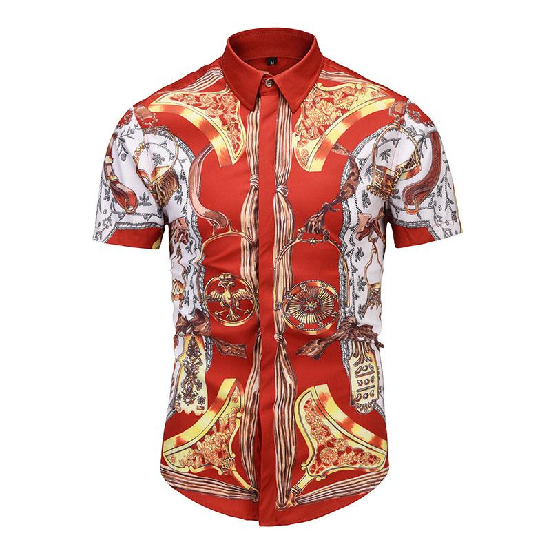 True Reveler fashion red Royal shirts men short sleeve Geometric pattern printing blouse summer travel nightclub tops