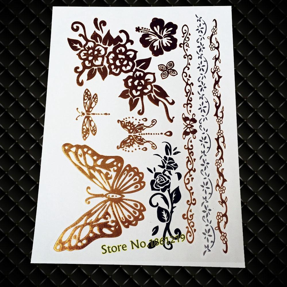 New Sexy Body Art Pink Blue Henna Flash Waterproof Tattoo Flower Arm Sleeve GT123 Heart Butterfly Design Temporary Tattoo Decals