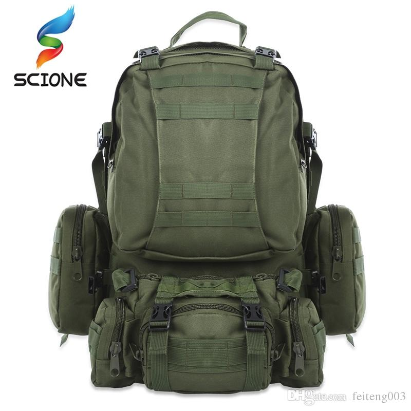 e5a82e6e93c6 2019 Hot 50L Outdoor Waterproof Backpack Molle Military Tactical Backpacks  Rucksack Sports Bag For Camping Hiking Backpack For Travel  109056 From ...