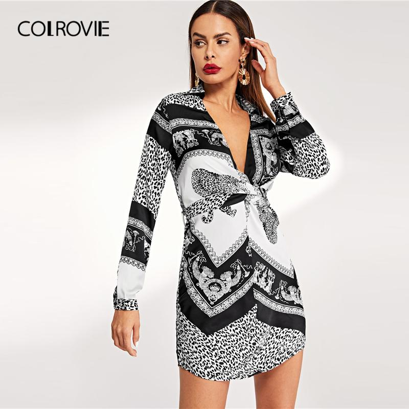 a533717fda1c COLROVIE Deep V Neck Leopard Print Winter Shirt Dress Women 2019 Fashion  Long Sleeve Sexy Mini Vintage Dress Office Casual Dress Designers Plus Size  Maxi ...