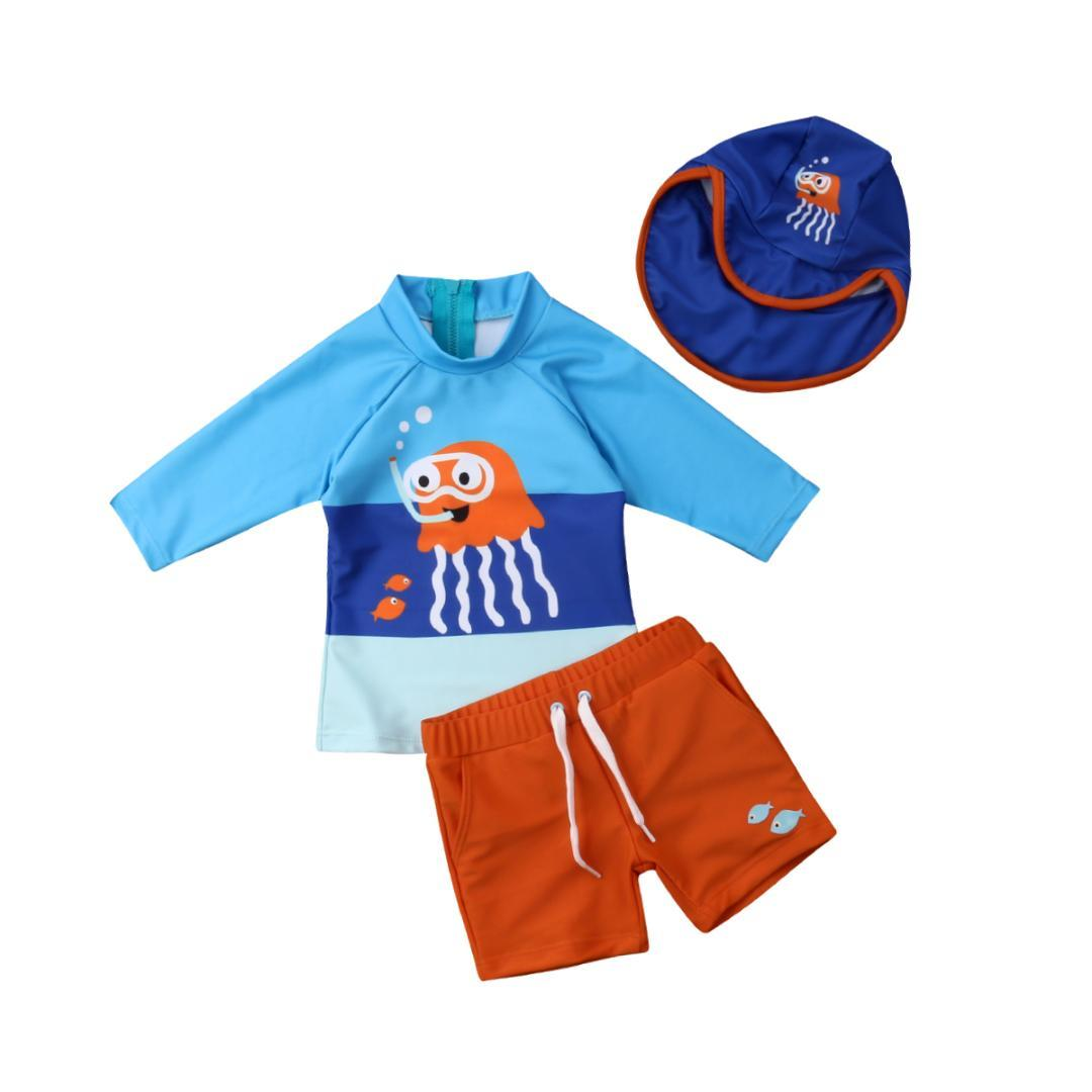 4bdc238fd2 2019 Hot Fashion Toddler Kids Baby Boys Swimwear Long Sleeve Cartoon  Octopus Swimsuit Bathing Suit Surf Clothes Sunsuit From Lou88, $35.42 |  DHgate.Com