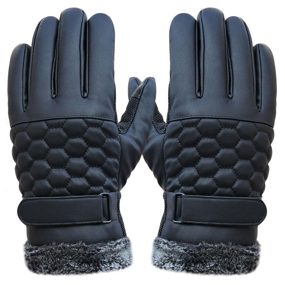 NEW Fashion Anti Slip Men Thermal Winter Sports Leather Touch Screen Gloves warm for male hot sale