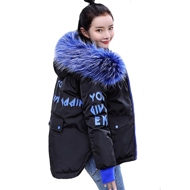 on sale 9f6bb 1d1bd 2019 neue Mode Winterjacke Frauen Mit Fell Mit Kapuze Kurzmantel  Gepolsterte Outwear Damen Winter Parka Abrigos Mujer Invierno