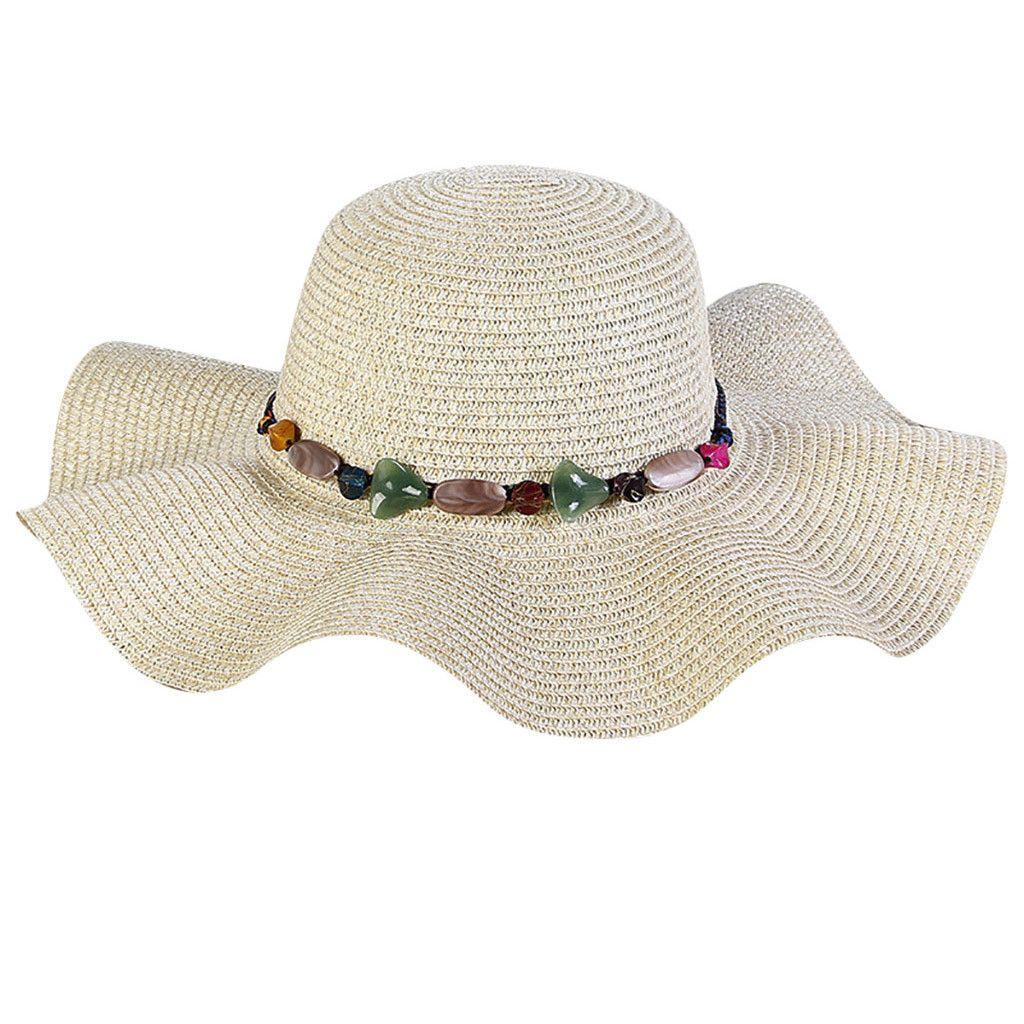 26228cb33e5 2019 New High Quality Fashion Women Big Wide Brim Straw Hat Colorful Stone  Design Beach Sun Foldable Cap Crystal Gift Sun Hats Cheap Sun Hats 2019 New  High ...