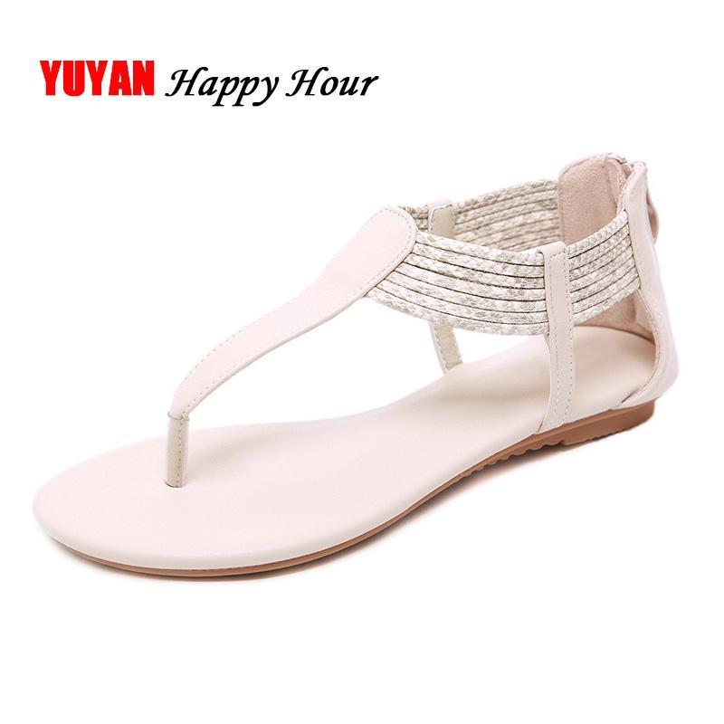 Taille De 2019 Plus La Flat Flip Sandales Flops Femmes Yx496 Plage D Été Chaussures Bohême VUpqMSz