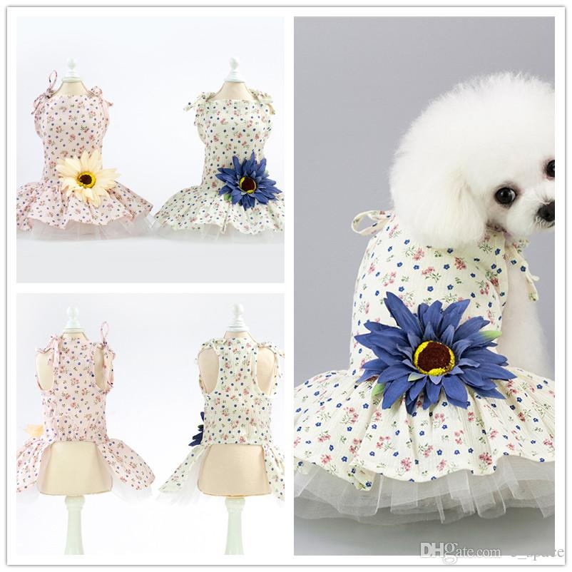 F142 dog flower dresses puppy sweet skirt dog summer dress pet cat summer cotton dress new style