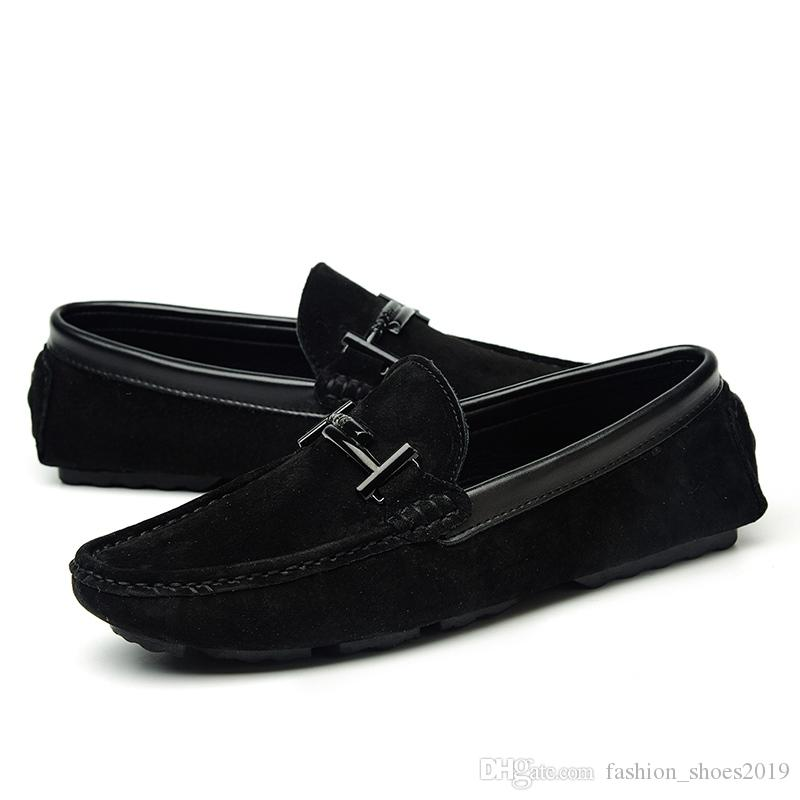 039d5fb299d35 Black Brand Mens Casual Loafers Suede Leather Top Men's Casual Shoes Slip  On Boat Shoes For Men Moccasins Chaussure Homme 38-44 #7512