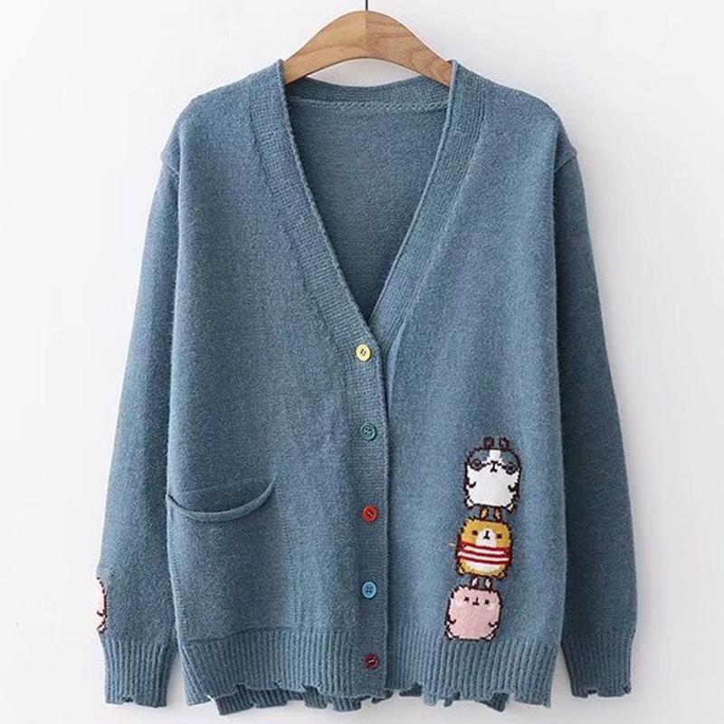 Compre Japonés Mujeres Harajuku Bordado Pollo De Dibujos Animados Con Cuello  En V Botón Colorido Cardigans Suéter Chaqueta De Tricot Femme A  30.87 Del  ... 2cb8421b0ed1