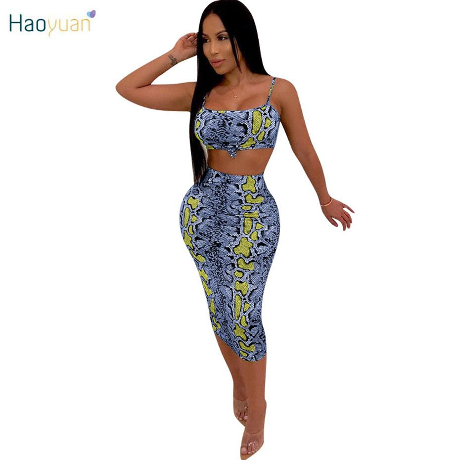 HAOYUAN Snake Print Sexy Club Outfits Two Piece Set Women Clothes Crop Top and Midi Skirt Track Suit Summer 2 Pcs Matching Sets
