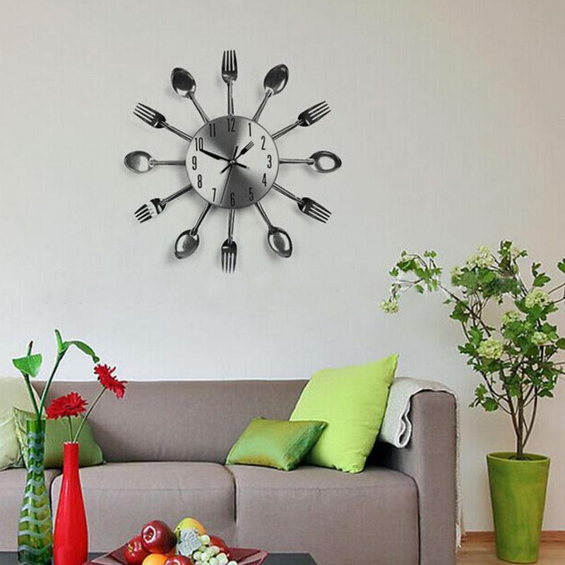 Exceptionnel 6 Inches Home Decorations Noiseless Stainless Steel Cutlery Clocks Knife  And Fork Spoon Wall Clock Kitchen Restaurant Home Decor Clocks Modern Clocks  On ...