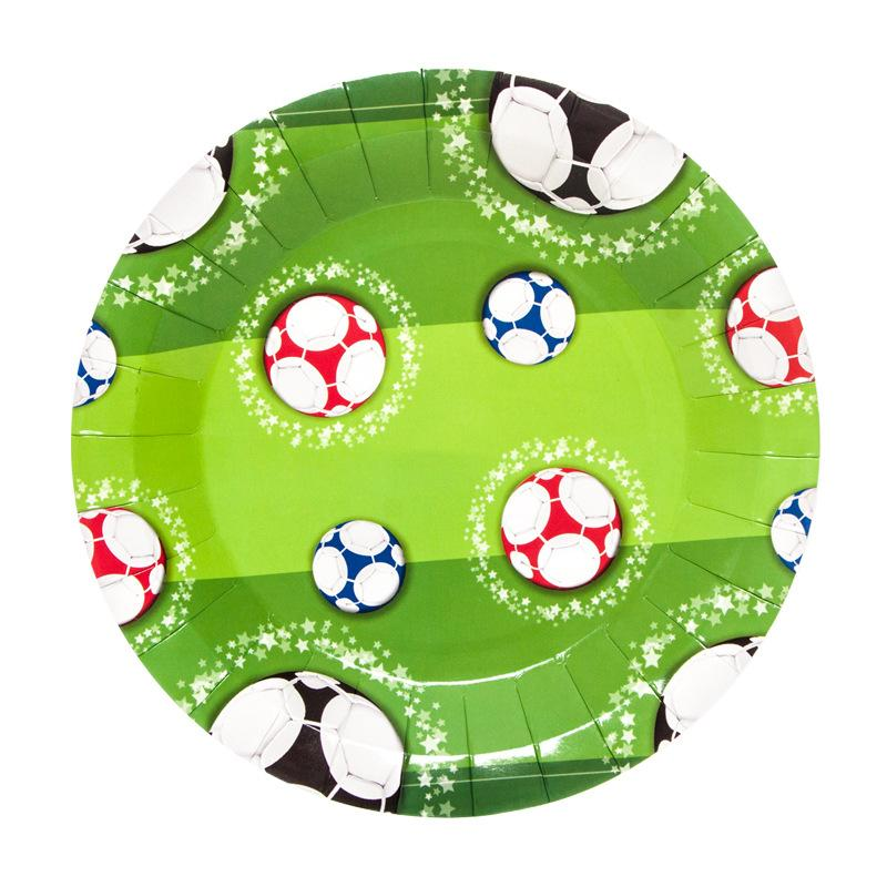 7inch Plates 10pcs Color footballs Disposable Tableware Christmas New Year Party Paper Plates Birthday Party Supplies