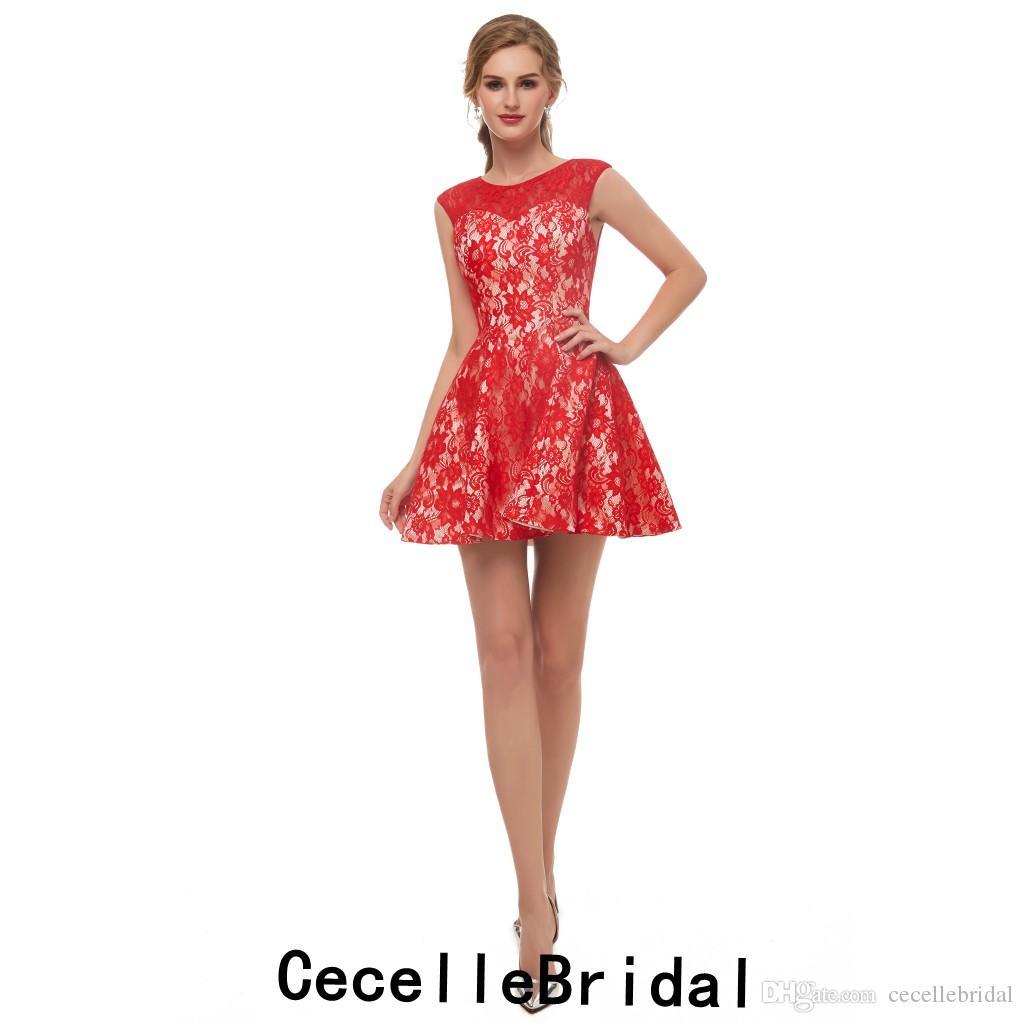 de7d6062f Compre Sencillo Encaje Rojo Una Línea De Vestido De Cóctel Corto Jewel Sin  Mangas Adolescentes Informal Lindo Corto Vestido De Fiesta Vestido De Noche  ...