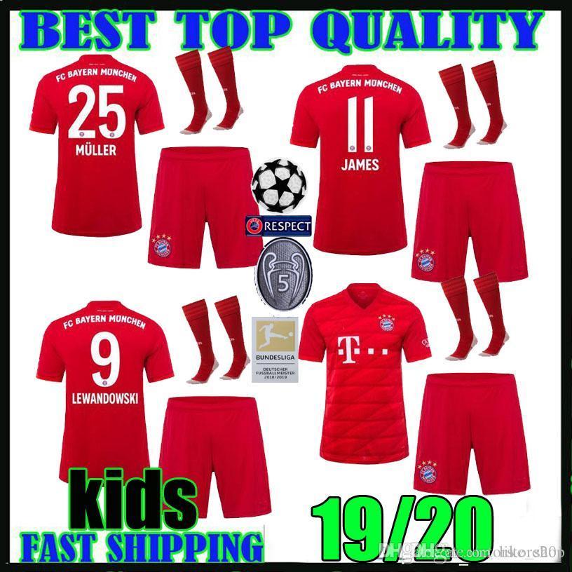 online store da574 1cf6e kids kit 19 20 Bayern Munich soccer Jersey home LEWANDOWSKI MULLER 2019  2020 champions league HUMMELS TOLISSO JAMES boys football shirts