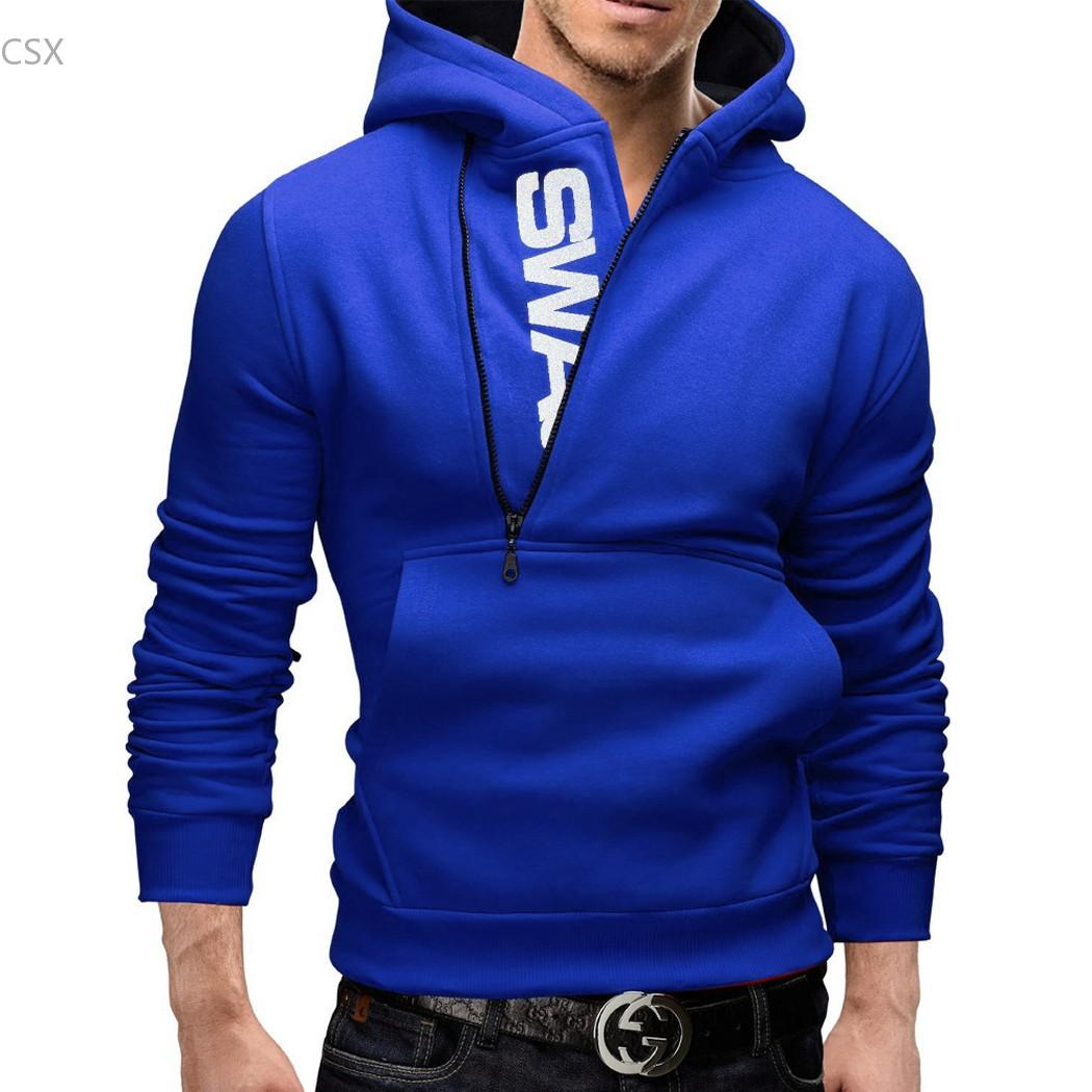 2016 New Fashion Men Boy Pullover Hooded Jacket Spring Autumn Fashion Men Slim Half Zipper Hoodies Casual Hoodies Tracksuits 63