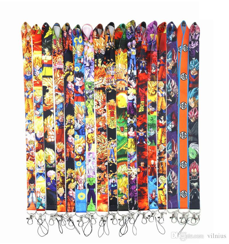 Hot! New! 100pcs Mixed DRAGON BALL Z Lanyard Badge ID Lanyards/ Mobile Phone Rope/ Key Lanyard Neck Straps keychain for key