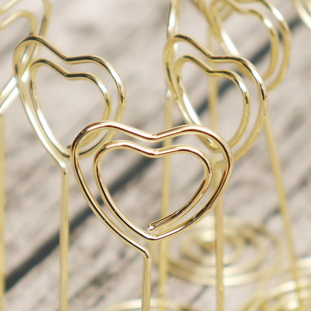 Rose Gold Heart Shape Photo Holder Stands Table Number Holders Place Card Paper Menu Clips For Wedding Party Decoration