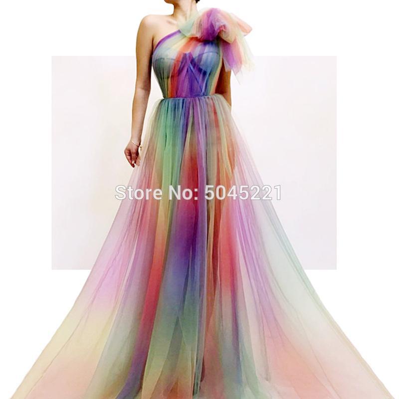 ColoresVestidos Dubai Vestido Soiree Noche Formales Mano A Hechos HombroVarios Nuevo Tul Robe Design 2019 Un Fiesta De VzpUSM