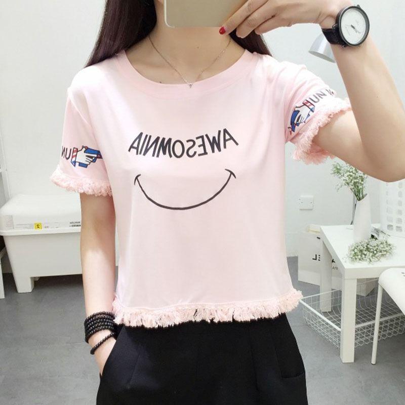 9437556c46e Women Summer Fashion Letter Print Crop Top Casual O Neck Short Sleeve T  Shirt Korean Tassel Loose Short T Shirts Female Clothing The Who T Shirts  Online ...