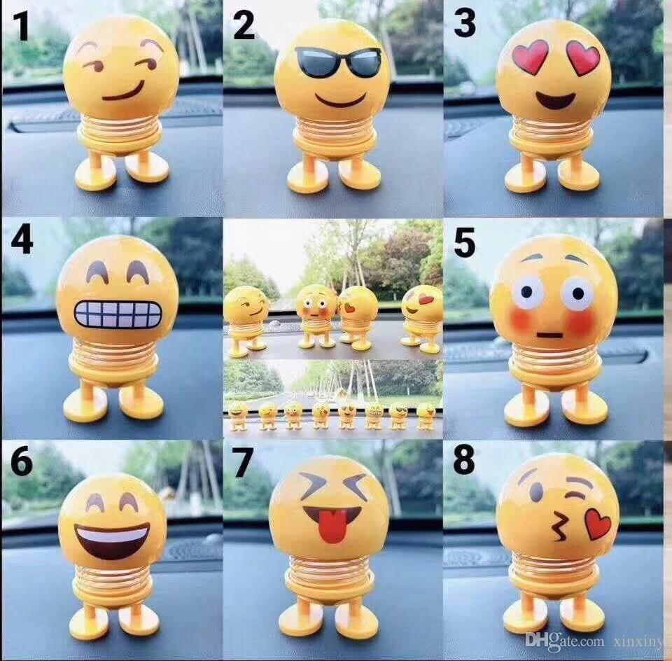 3 top Xiaohuang Ren Spring Smile Face Expression Pack Shaking Head Dude Expression Arrangement Vehicle Interesting Decompression Toys