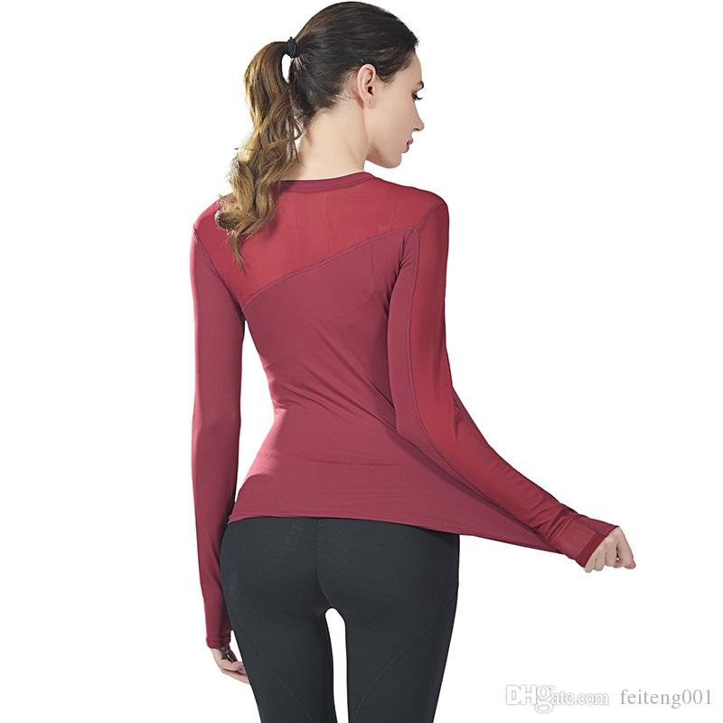 77f6d3a4eac80 2019 New Gym Clothes Fitness Yoga Top Sport Sweatshirt Mesh Long Sleeve  Women T Shirt Sports Jerseys Running Jacket Women Sportswear #353206 From  Feiteng001 ...