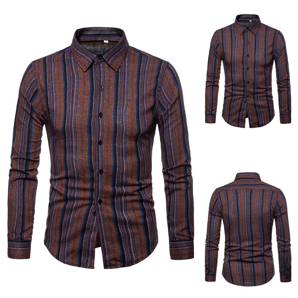 c096173b3 Para hombre de manga larga Patchwork Sujetador Sudaderas Top Blusa  Impresión de la tela escocesa suelta de negocios blusas masculinas camisas  del ...