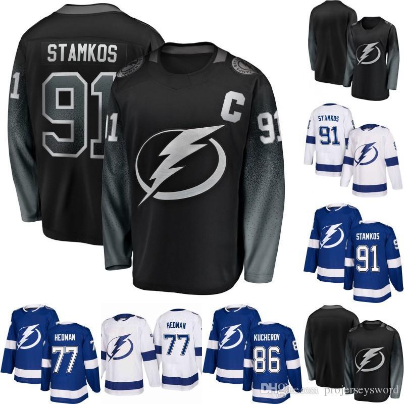 2019  91 Steven Stamkos Jersey Tampa Bay Lightning 21 Brayden Point 77 Victor  Hedman 86 Nikita Kucherov 88 Andrei Vasilevskiy Hockey Jerseys From ... 78c31f381