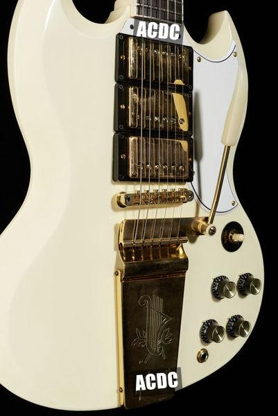 1963 SG Custom Classic White Electric Guitar Long Version Maestro Vibrola Tremolo Tailpiece & Harpe Logo, 3 Humbucker Pickup, Gold Hardware