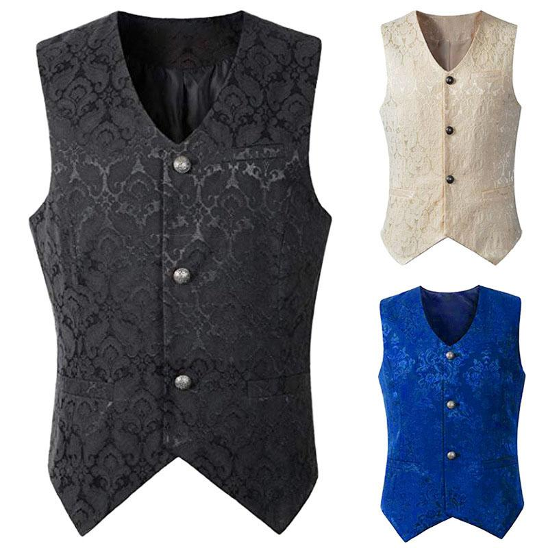 Adult Men Black White Vintage Vest Waistcoat Victorian Steampunk Style Jacquard Top Shirt Noble Costume For Men's Suit Plus Size