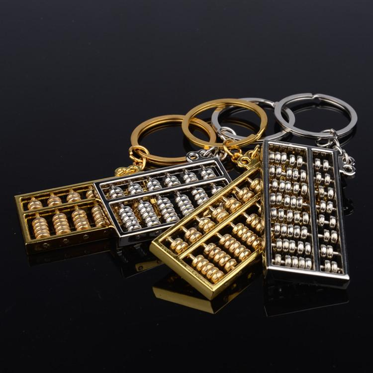 Creative personality metal sixth gear eight gear Jinsuanpan silver Abacus key button car advertising key ring chain pendant
