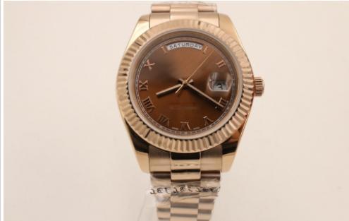 decb6e4a56 Compre Hot Vender Relógios De Luxo Homens 40mm Tamanho Marrom Face Aço  Inoxidável Pulseira Relógio Data Data Presidente De Surface8899558