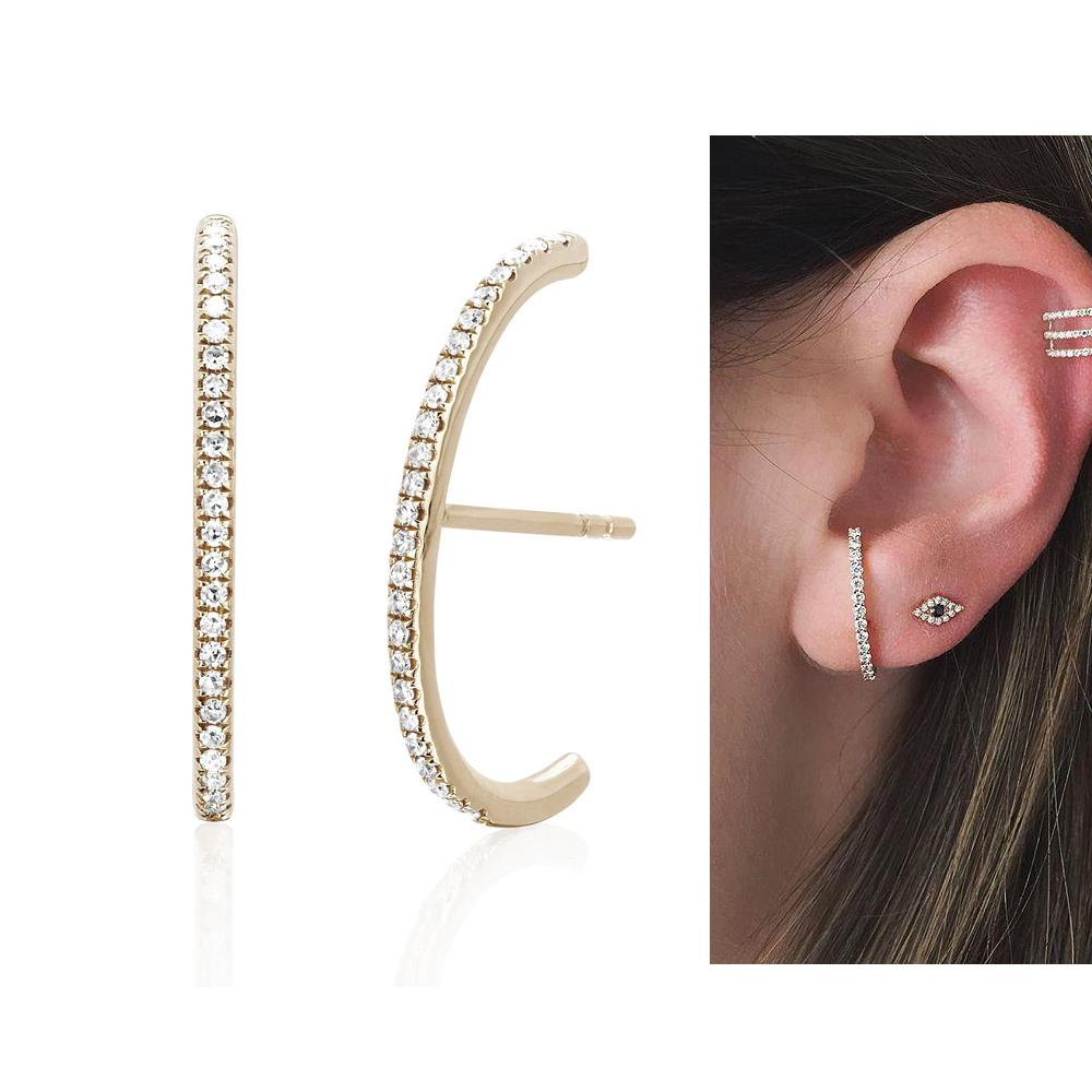 925 sterling silver gold silver color ear bone ear wire elegance trendy paved cz long bar women stud earrings for womens
