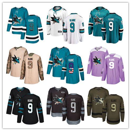 best website e5bbd 45378 San Jose Sharks jerseys #9 Evander Kane Jersey ice hockey men women youth  blue white black teal green drift Stiched Fanatics Jerseys