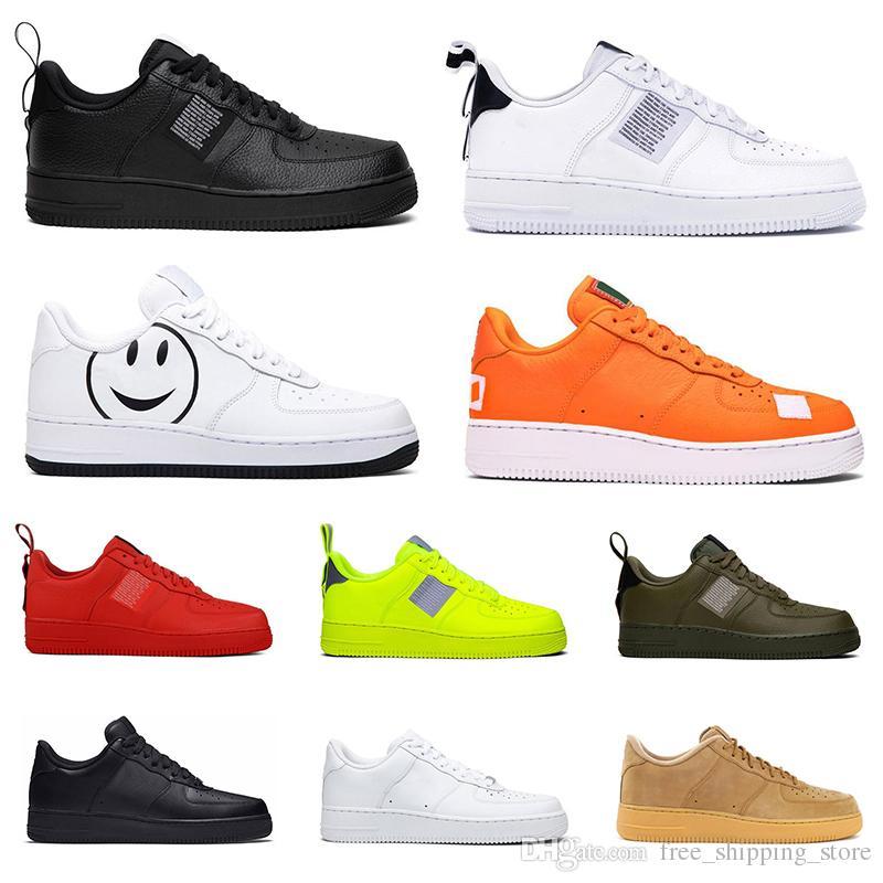 7da04a7133 2019 nike air force 1 af1 just do it uomini donne sneakers piattaforma moda  utility nero bianco triple volt oliva rosso hanno un giorno lino mens ...