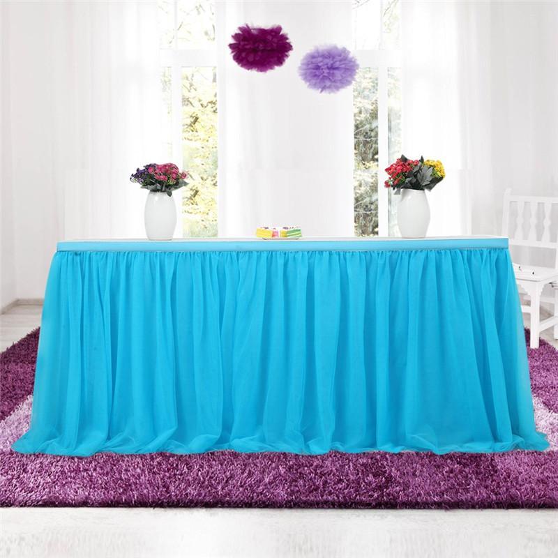 7490cb46f Falda de mesa Fiesta de la boda de tela Tutu Tul vajilla de tela para la  fiesta Decoración del hogar Ducha de bebé Decoración para el hogar Tabla ...