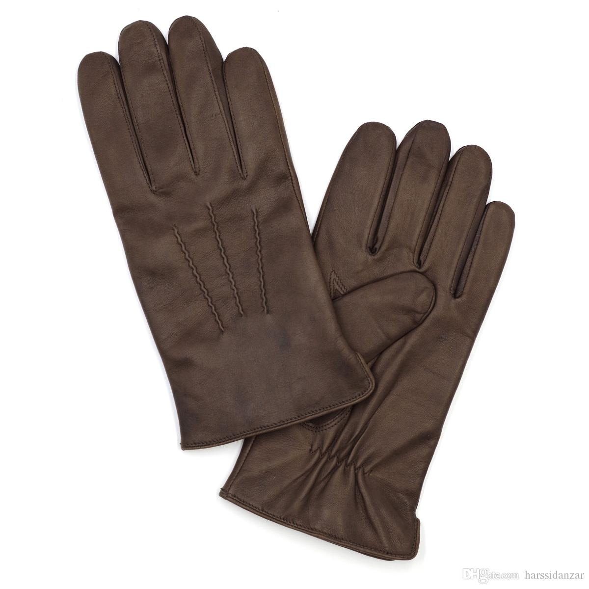 107fb9e9dfa52 Harssidanzar Mens Luxury Italian Sheepskin Leather Gloves Vintage Finished Wool  Lined (Brown color)
