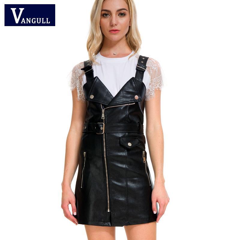b342d746e50 Acheter Vangull 2018 Nouvelles Femmes En Cuir Robe Souple PU Faux En Cuir  Robe V Nck Sexy Slim Rétro Noir Court Court Robe Robe De Fête Y190117 De   26.51 Du ...